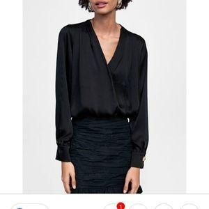 Zara cropped. Wrapped satin pleated bodysuit